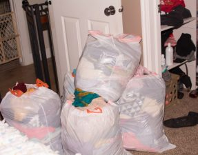 5 bags of clothes from my closet. I got rid of 3 more the day before.