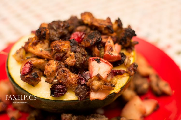 Acorn Squash with Apple and Cranberry Stuffing - Our Kind of Wonderful