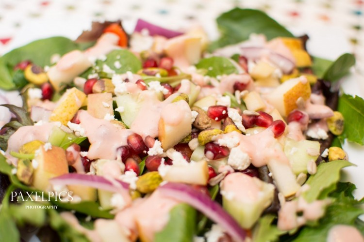 Pomegranate Pear Salad with Creamy Pomegranate Dressing - Our Kind of Wonderful