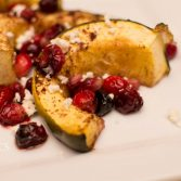 Roasted Acorn Squash with Pomegranate and Cranberry - Our Kind of Wonderful