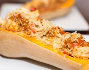 Spicy Chicken and Rice Stuffed Butternut Squash - Our Kind of Wonderful
