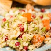 Shredded Brussels Sprout, Sweet Potato and Pomegranate Quinoa Salad - Our Kind of Wonderful