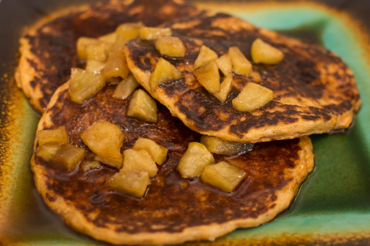 Sweet Potato Pancakes with Cinnamon Apple Syrup - Our Kind of Wonderful