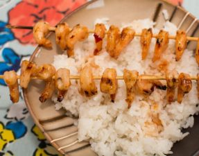 Sweet and Spicy Honey Grilled Shrimp with Coconut Rice - Our Kind of Wonderful