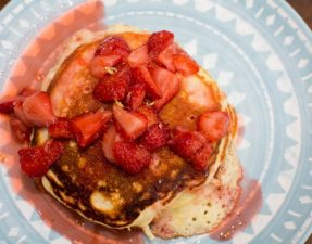 Lemon Pancakes with Homemade Strawberry Syrup - Our Kind of Wonderful