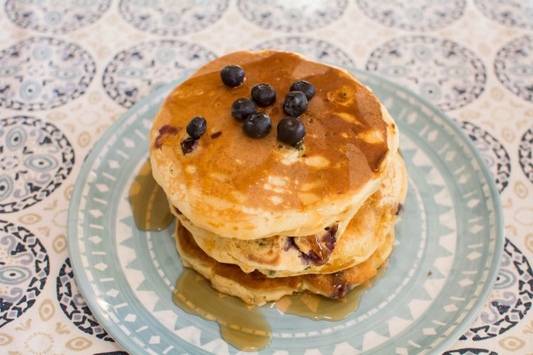 Lemon Blueberry Ricotta Pancakes - Our Kind of Wonderful