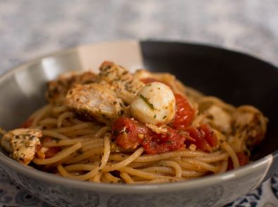 Pesto Chicken Caprese Pasta - Our Kind of Wonderful