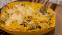 Cheesy Garlic Spinach Parmesan Spaghetti Squash - Our Kind of Wonderful
