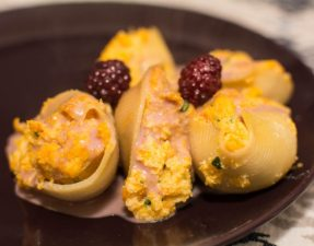 Butternut Squash Stuffed Shells with Blackberry Cream Sauce