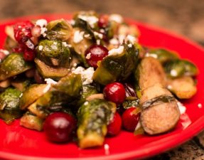 Maple Roasted Brussel Sprouts with Cranberries