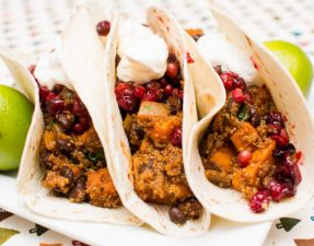 Chipotle Quinoa Sweet Potato Tacos with Pomegranate Cranberry Salsa - Our Kind of Wonderful