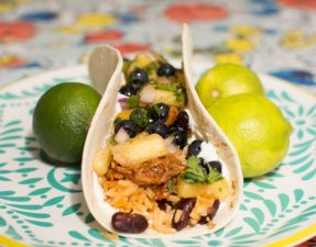 BBQ Chicken Burritos with Blueberry Pineapple Salsa - Our Kind of Wonderful