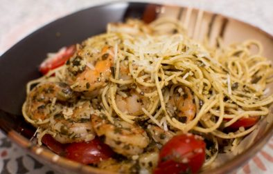 Shrimp Pesto Pasta - Our Kind of Wonderful
