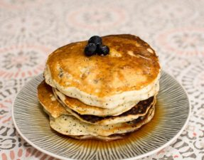 Sour Cream Blueberry, Lemon, Poppyseed Pancakes - Our Kind of Wonderful