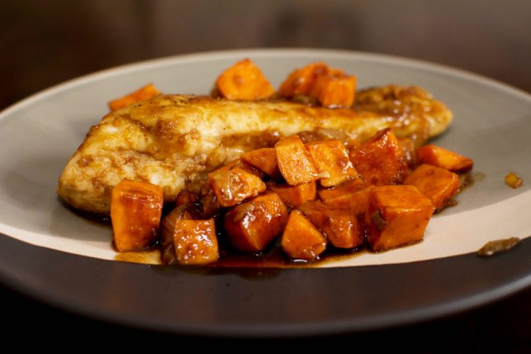 Skillet Chicken with Sweet Potatoes and Maple Glaze - Our Kind of Wonderful
