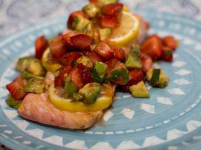 Strawberry Lemon Salmon with Strawberry Avocado Salsa - Our Kind of Wonderful